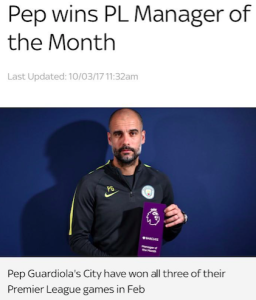 Pep manager of the month